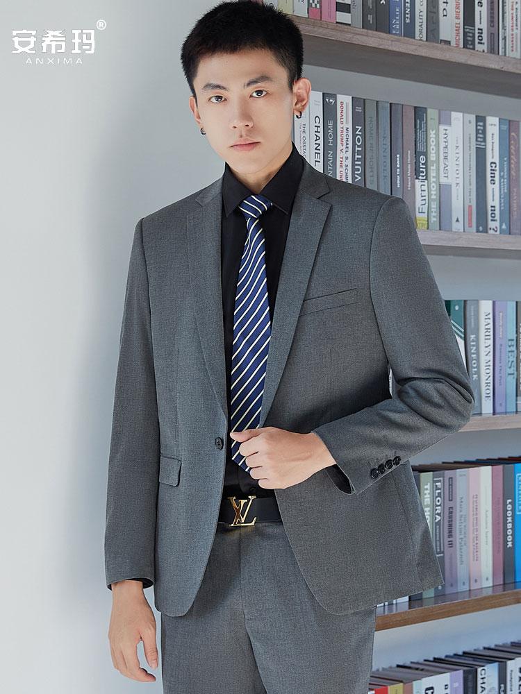 Gray suit suit mens professional best man Korean version grooms wedding business suit slim fit casual suit