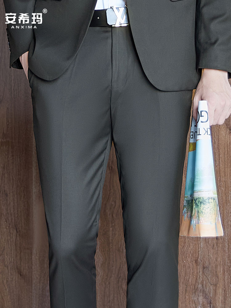 Black spring and autumn trousers slim straight business casual suit pants non ironing work clothes professional formal long pants