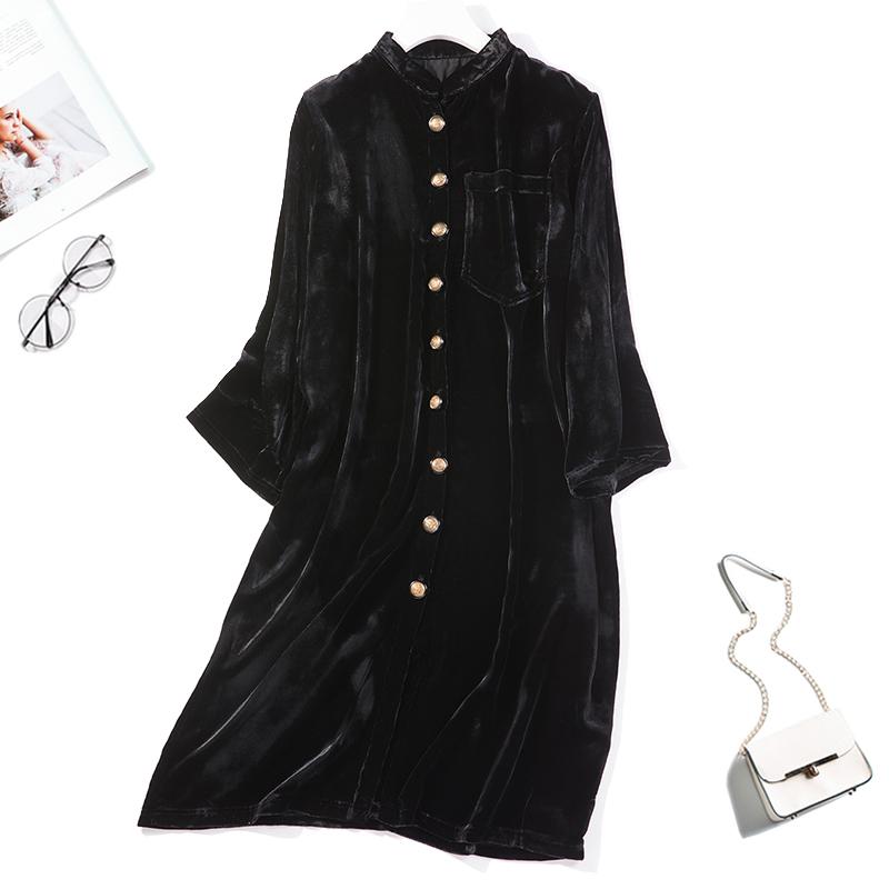 秋季新款复古优雅气质丝绒连衣裙
