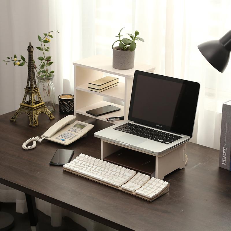 笔记本电脑增高架办公桌面显示器散热键盘收纳置物支架北欧