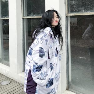 周家恩原創潮牌冬季新款加厚寬松夾棉海馬棉衣寬松連帽外套男女裝