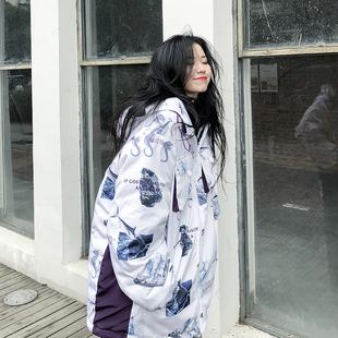 周家恩原创潮牌冬季 加厚宽松夹棉海马棉衣宽松连帽外套男女装 新款