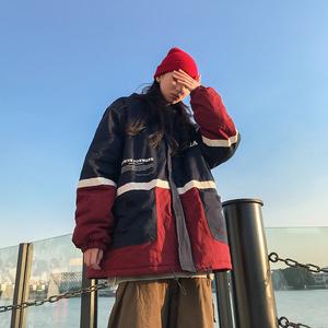 周家恩2019新款冬季韩版夹棉拼接棉衣保暖加厚连帽面包服女装潮流