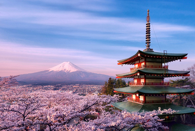 富士山成人1000片木质拼图益智唯美风景日本经典风光樱花进口品质