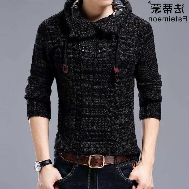 高档名牌高领针织衫男带帽韩版修身套头毛衣男士外套秋季男装加绒