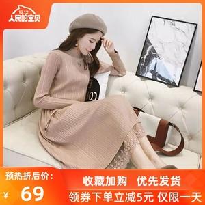 连衣裙2019新款女装春装韩版中长款过膝洋气打底针织毛衣裙子宽松