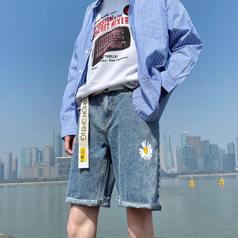 (已有现货请放心上款)港风邹菊牛仔五分短裤男B430-1-DK11-P40