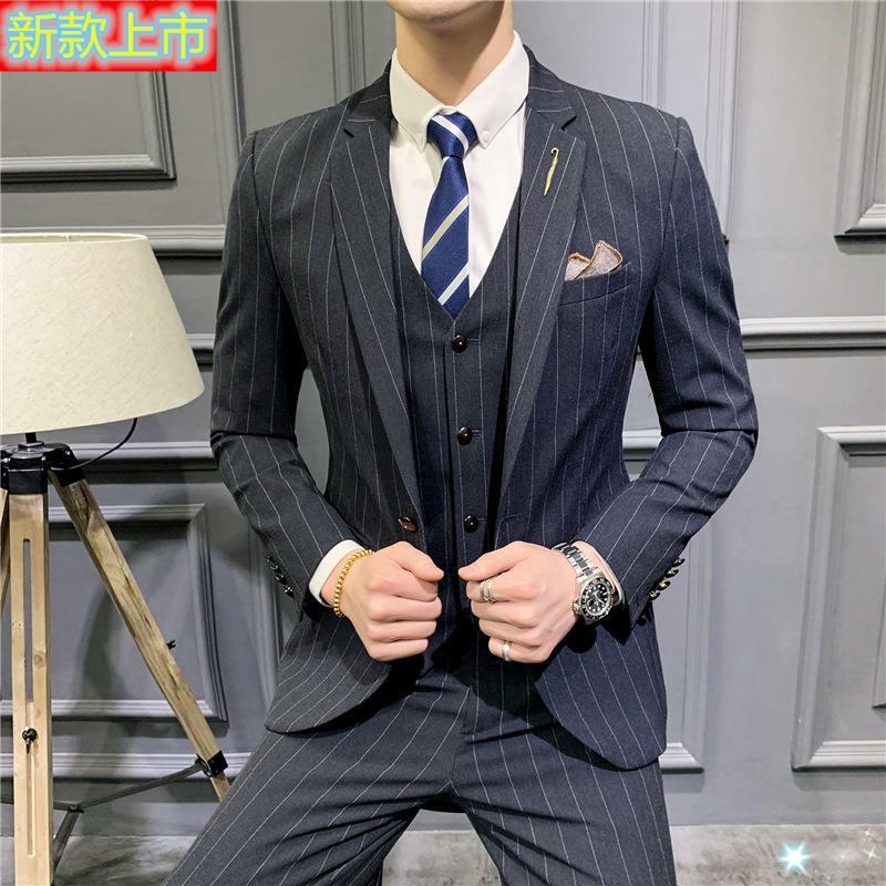 高档正品一粒扣条纹男士西服套装商务休闲西装马甲西裤三件套韩版