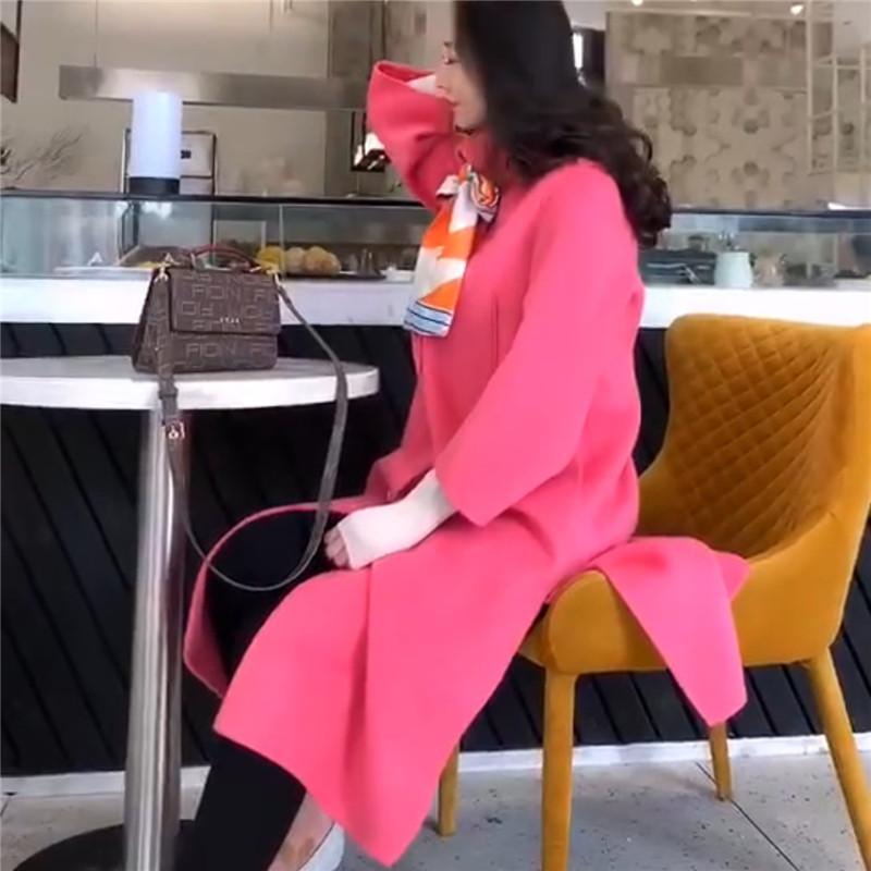 2019秋冬新款职业女装欧韩站气质名媛风女士精品羊绒大衣时尚风衣