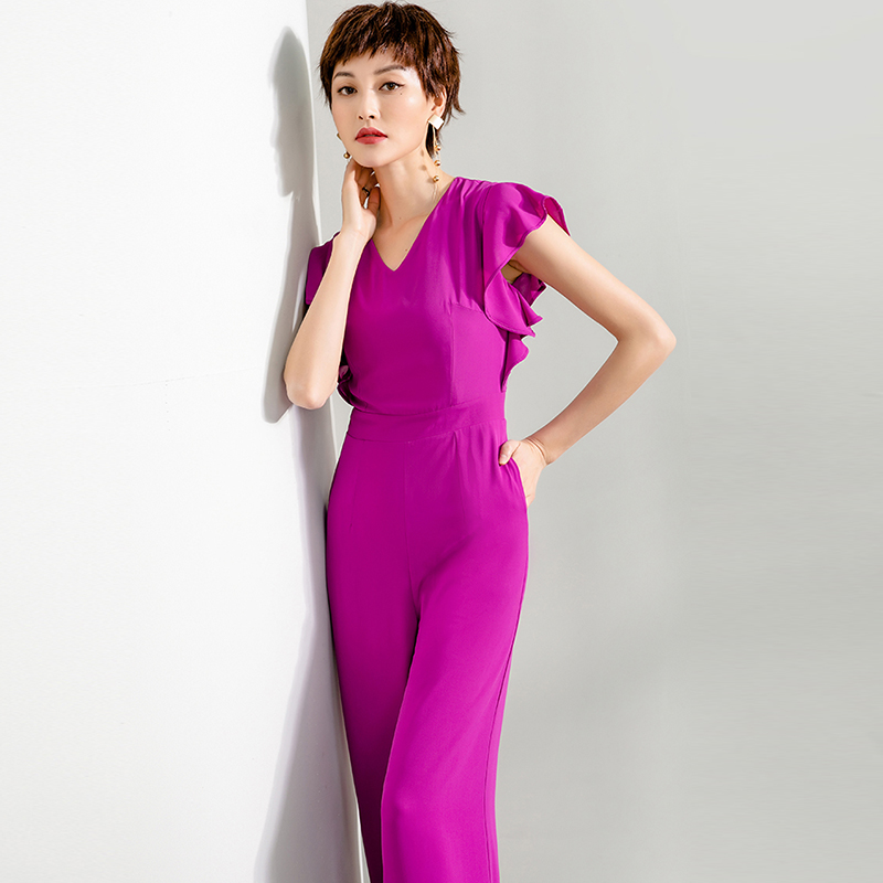 2020 summer new Jumpsuit female V-neck slim Purple Rose Red wide leg pants straight pants with ruffle sleeves