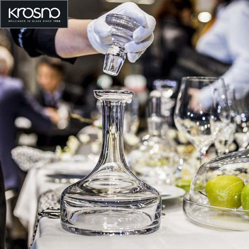 Krosno imported lead-free crystal hand controlled wine Decanter Bottle with stopper