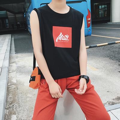 电商A028 B02 P20 100棉 个性无袖印花T恤S