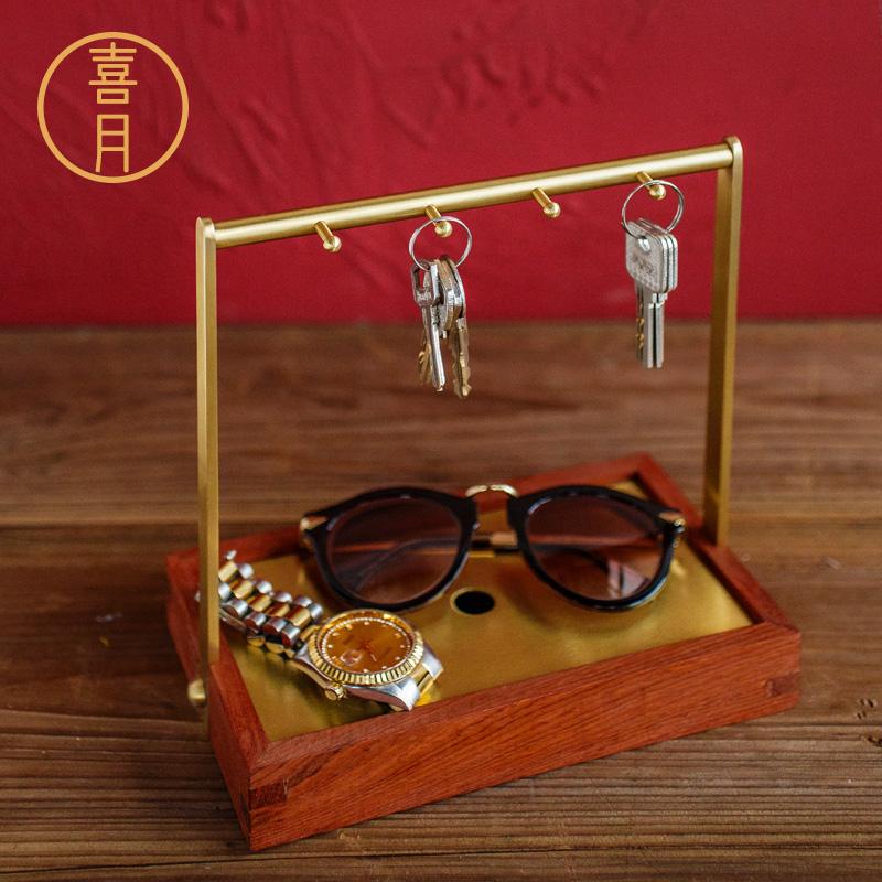 新中式玄关钥匙收纳盒盘鞋柜进门门口创意装放零钱杂物置物架摆件