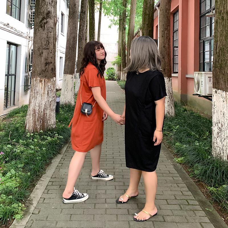 10-19新券小俪定制大码纯色休闲微胖连衣裙