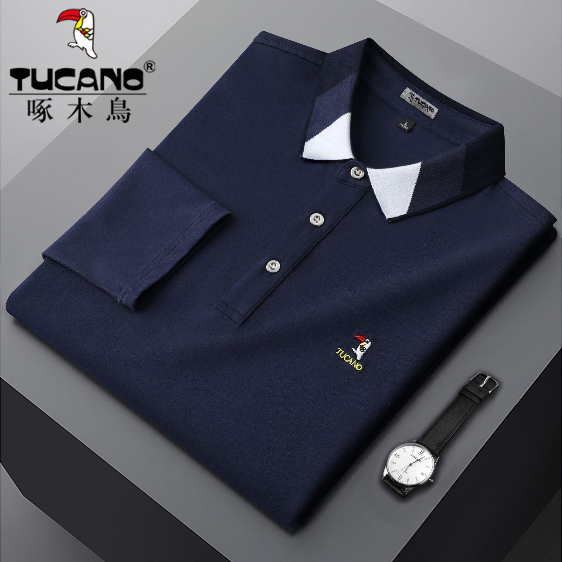 啄木鸟男装2021春秋翻领长袖t恤男士polo衫装打底衫纯色中老年t恤