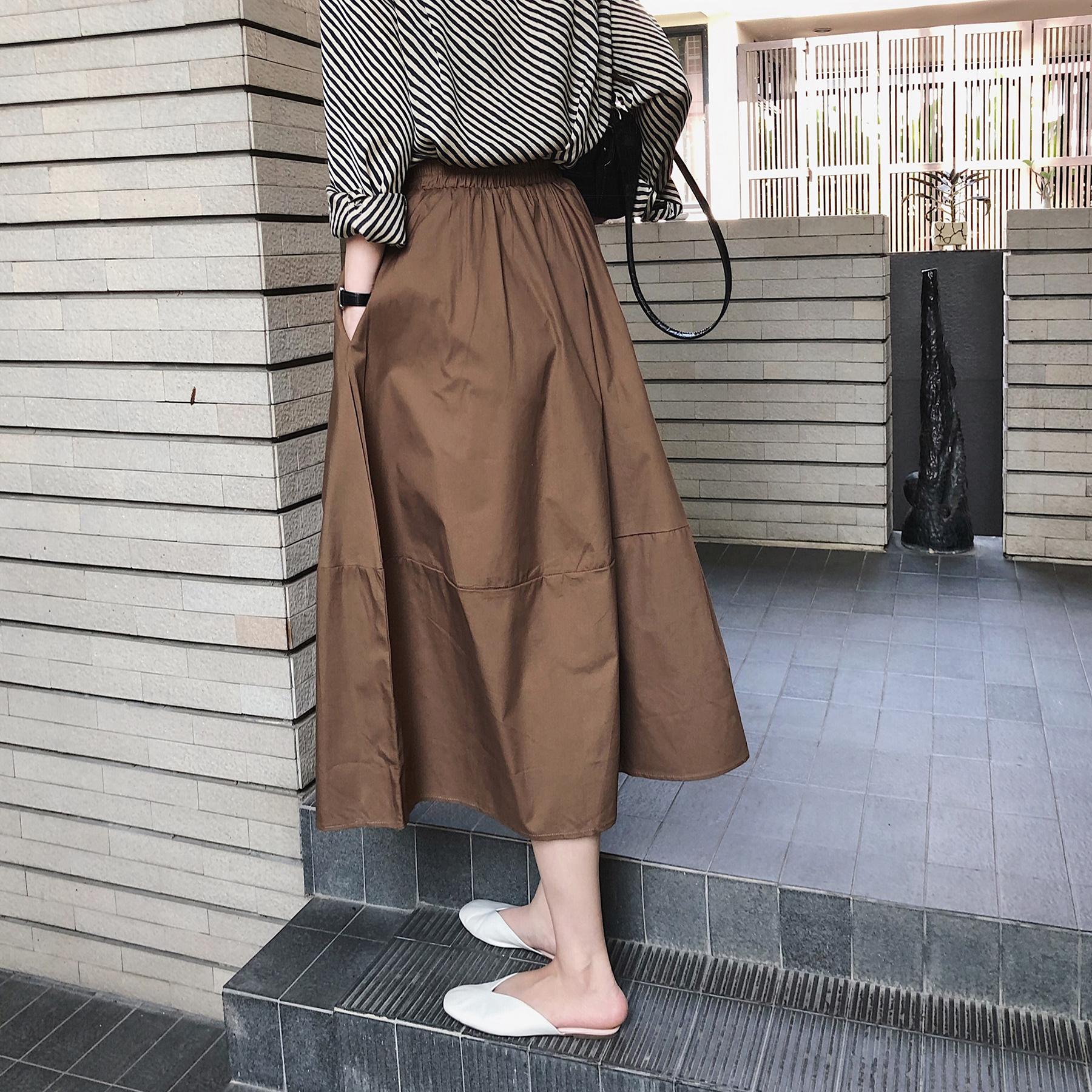 misslady自留怒推 怎么穿都好看的质感纯色chic韩版半身裙中长款