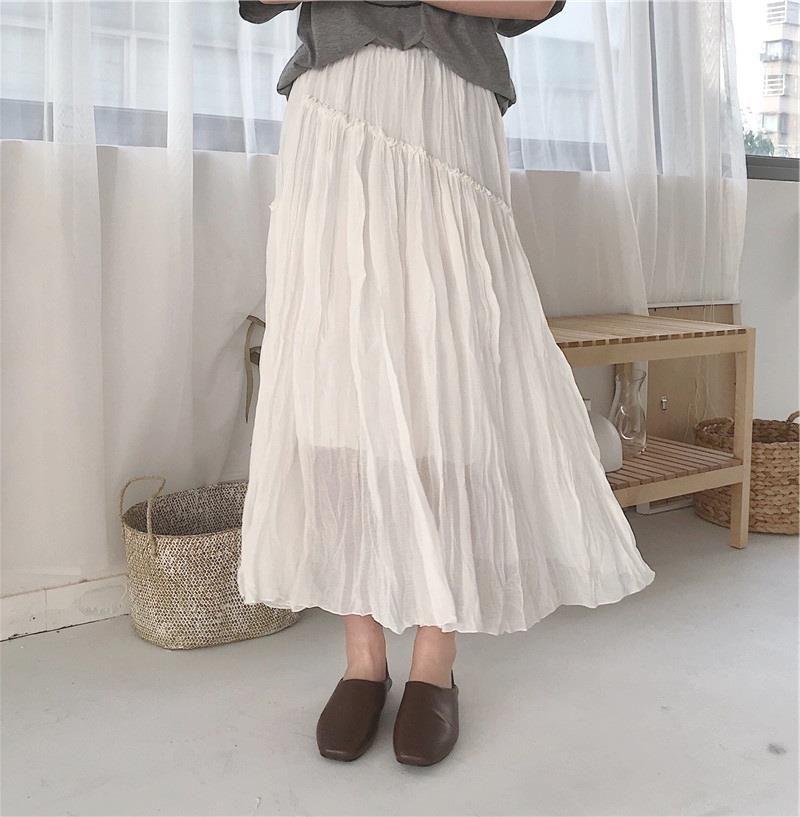 春季女装一条仙仙的休闲半身裙女褶皱双层百搭中长裙子
