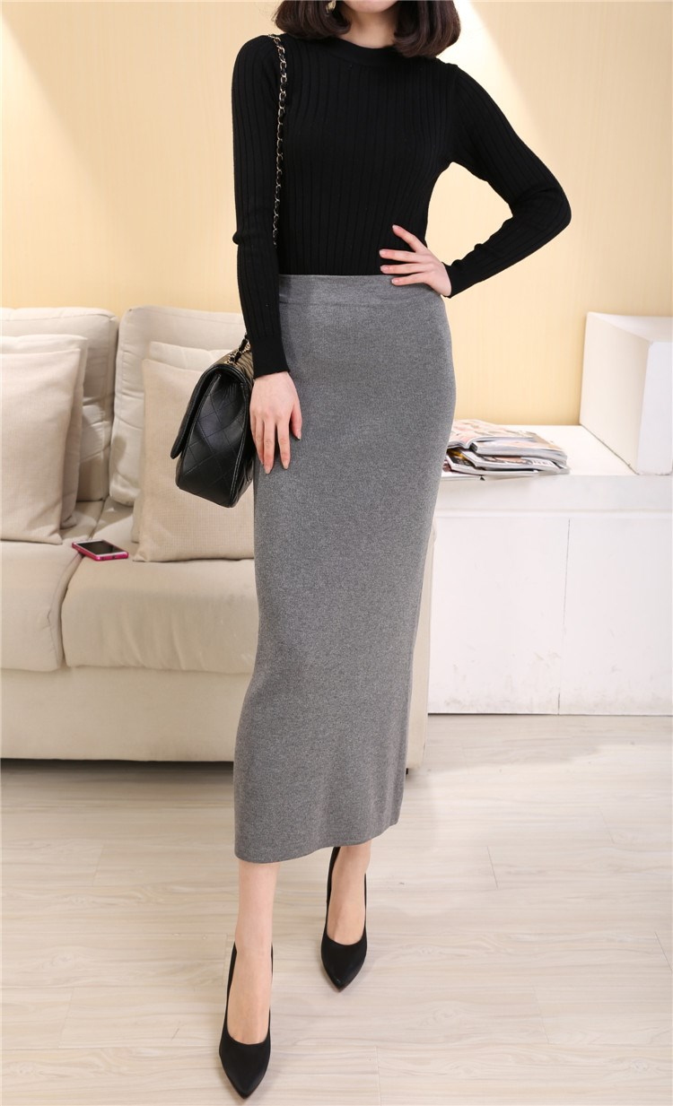 Autumn / winter 2019 womens slim knitted skirt for women with slim high waist and tight hip skirt