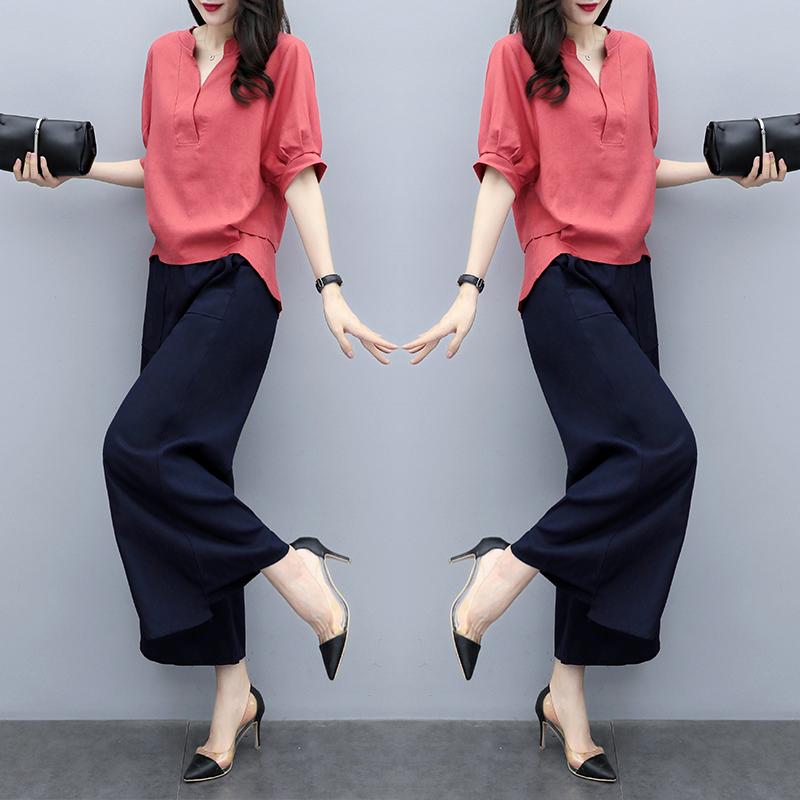 棉麻女2021夏装新款韩版短袖阔腿裤