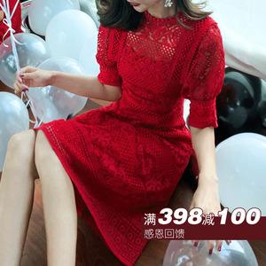 钱大大红色礼服裙女宴会结婚气质女装新娘回门小礼服敬酒服连衣裙
