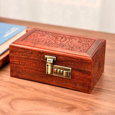 缅甸花梨木首饰盒红木收纳盒带锁珠宝高档实木密码锁饰品盒精致