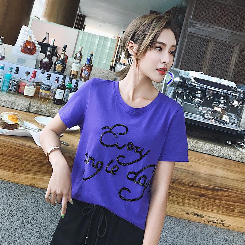 SUX欧洲站原创重工艺女装2018夏季新款串珠设计手工钉珠短袖T恤潮