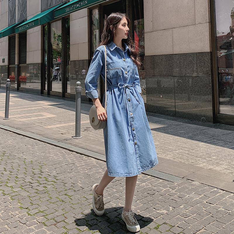 现货秋装040-1807-P85-K138 牛仔收腰长款连衣裙长款外套