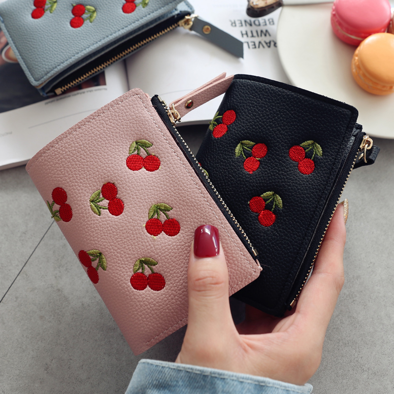 Womens vertical buckle cherry embroidery short trend small wallet 2019 new student simple fashion wallet