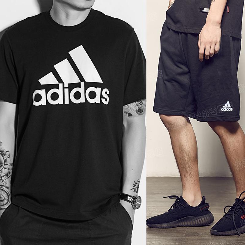 阿迪达斯套装男 2019新款正品夏季宽松运动短裤男休闲透气短袖T恤