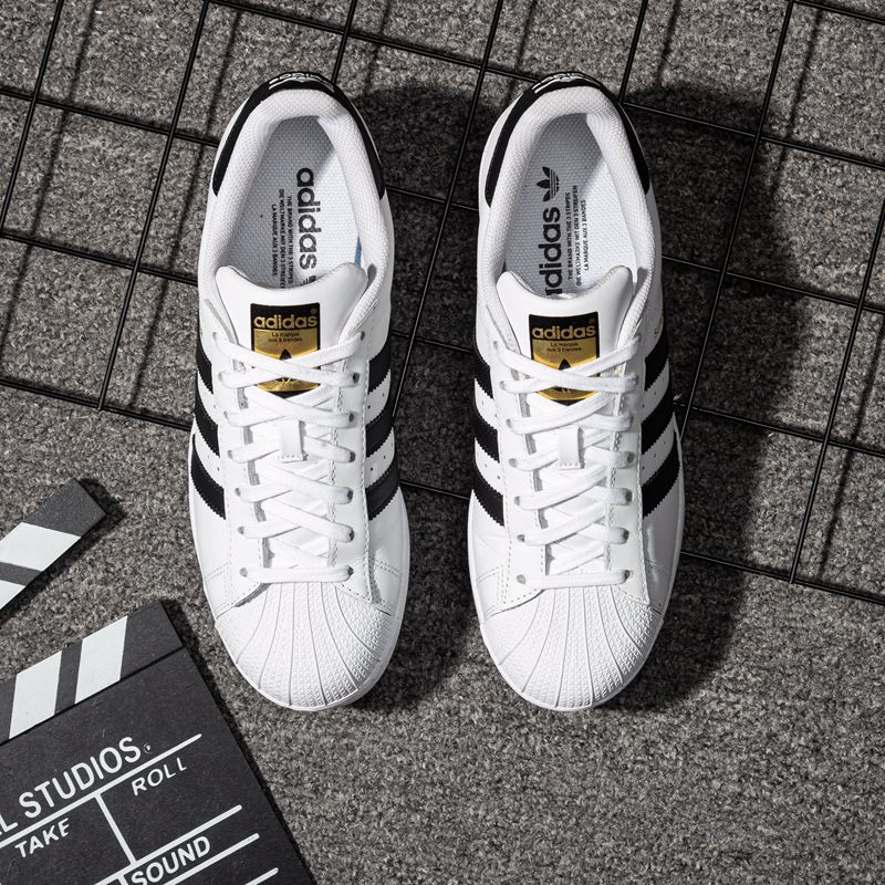 Adidas official website flagship shoes men's shoes women's board shoes men's authentic clover gold label shell head casual white shoes