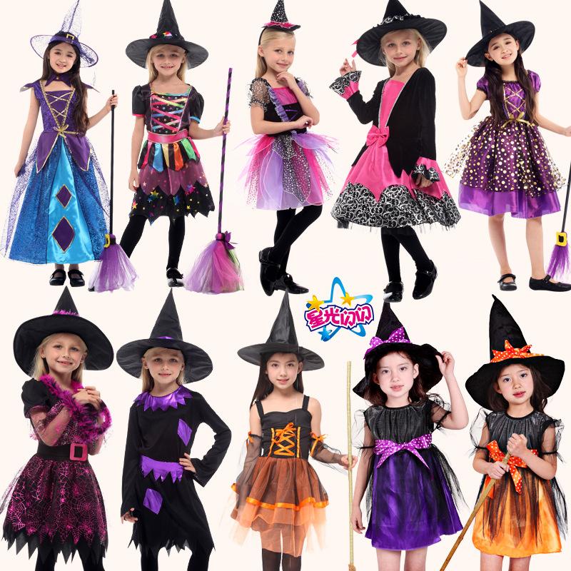 六一节巫婆服装儿童 COS演出服饰女童网纱巫婆披风女巫婆套装衣服