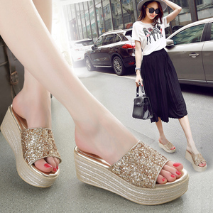 女夏外穿2021新款时尚坡跟女凉鞋
