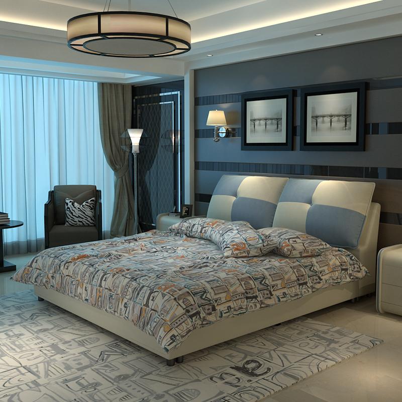 Ткань кровать современный простой кровать господь ложь небольшой квартира ткань кровать съемный двуспальная кровать брак кровать татами кровать мягкий чехол кровать