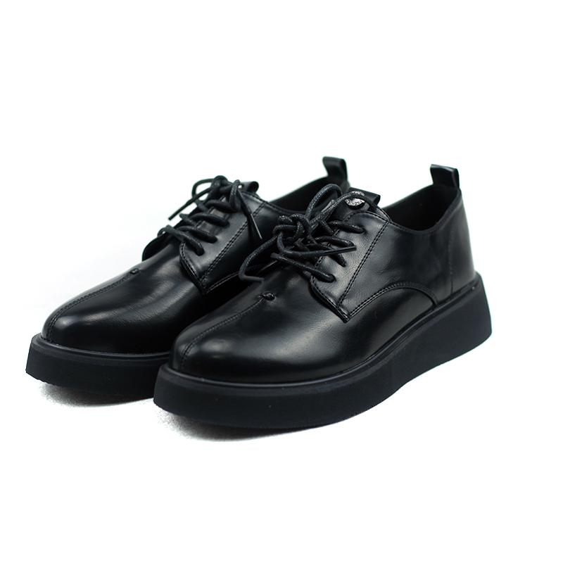 卓詩尼單鞋新款粗跟平跟套腳英倫風職業通勤百搭樂福鞋單鞋女