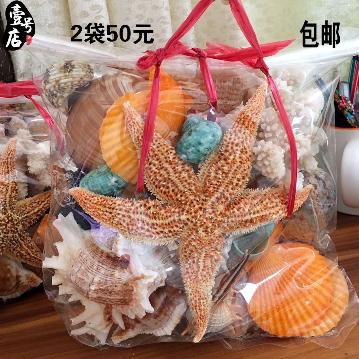 包邮 海南高档天然海螺海星贝壳套装600G约25个鱼缸装饰旅游礼物