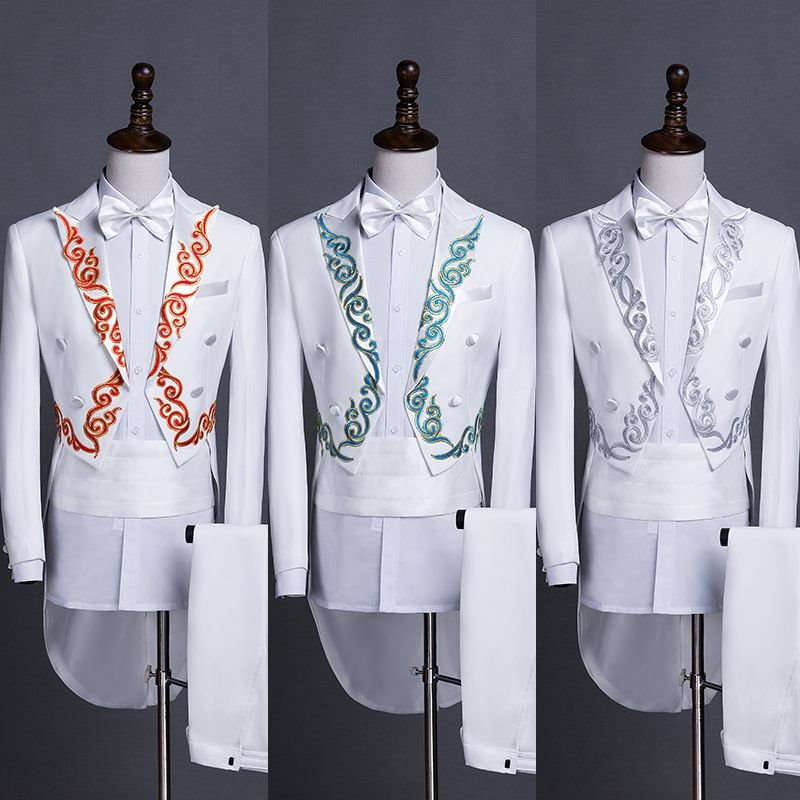 New tuxedo mens self-cultivation stage conductor adult singer host costume suit suit Chinese banquet