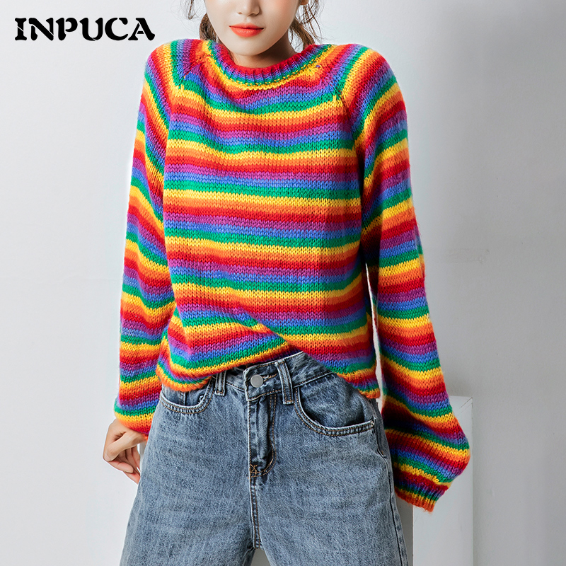 Rainbow knitwear, sweater, womens red stripe sweater, pullover, elegant national style, loose and hollow Spring Festival New Year
