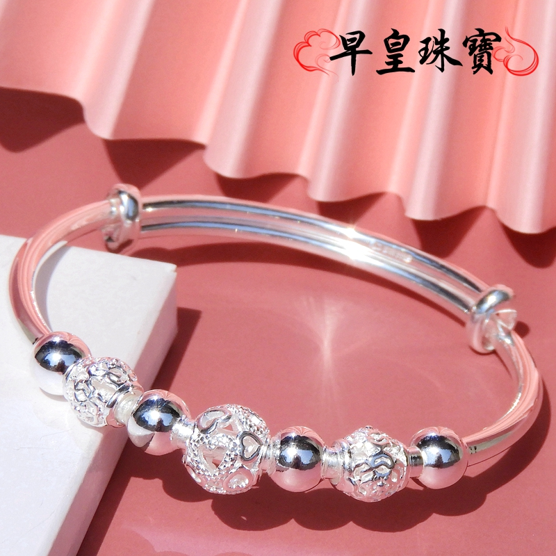 Authentic fashion silver bracelet female 9999 Sterling Silver Bracelet transfer Silver Bracelet Silver Jewelry young simple gift