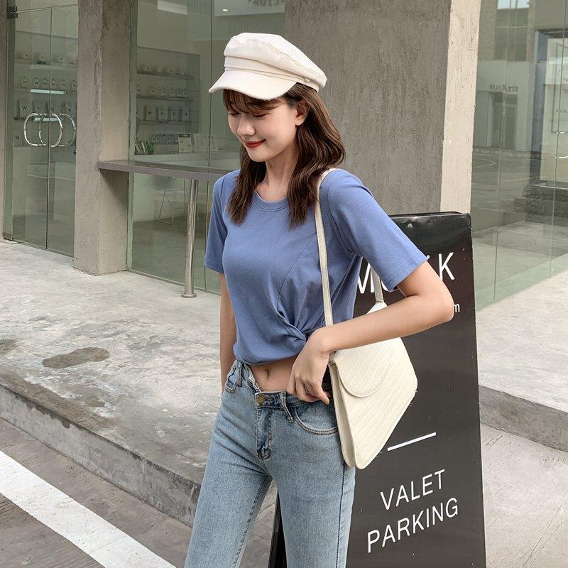 大量现货~2020主推款~实拍~韩版女装简约短袖高腰露腰纯色圆领T恤