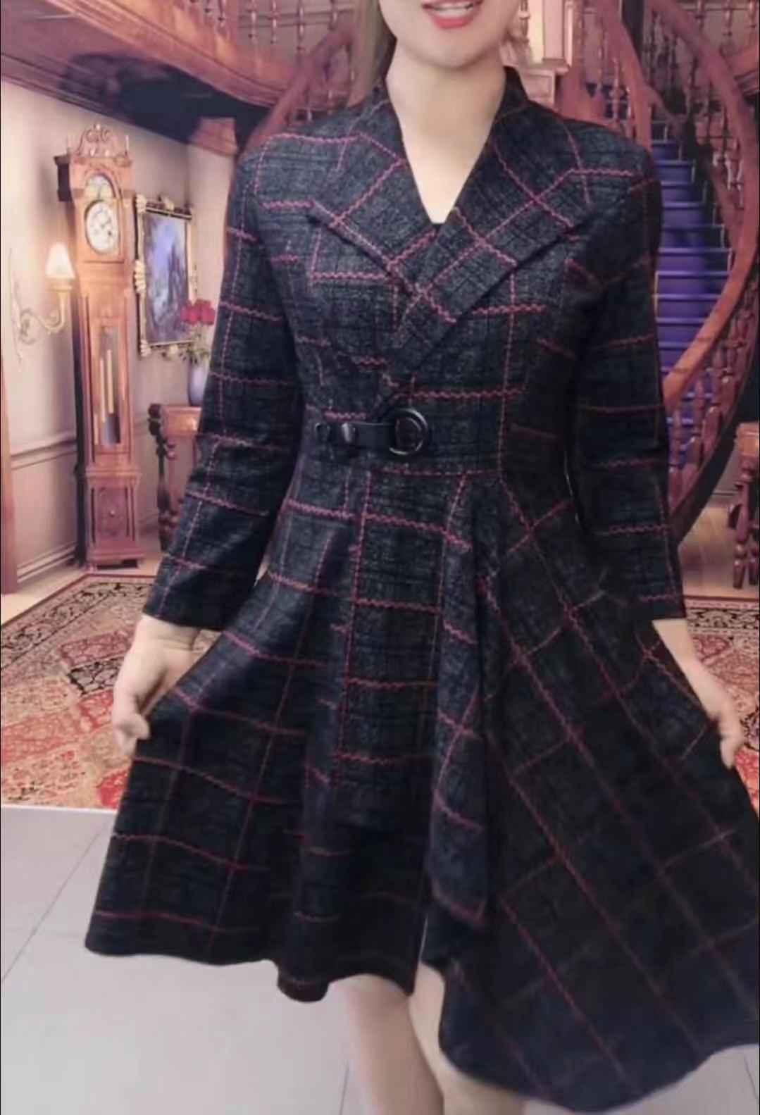 网红秋装新款时尚风衣女长袖中长款收腰系绳爆款格子外套妈妈装秋券后178.00元