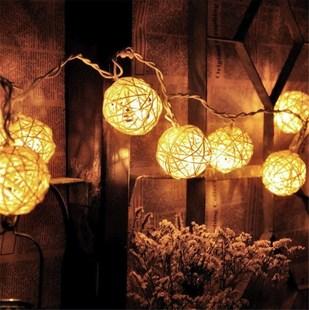 Ball Light Home Hol String Led Garden Christmas Rattan