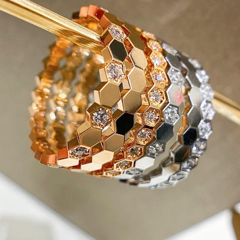18K白金蜂巢进口莫桑石玫瑰金AU750时尚蜂窝玫瑰金手镯黄金尾戒指