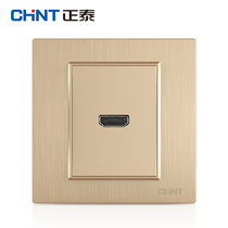 Zhengtai Switch socket panel 7L Champagne wire drawing HD video switch socket (HDMI) Type 86 socket