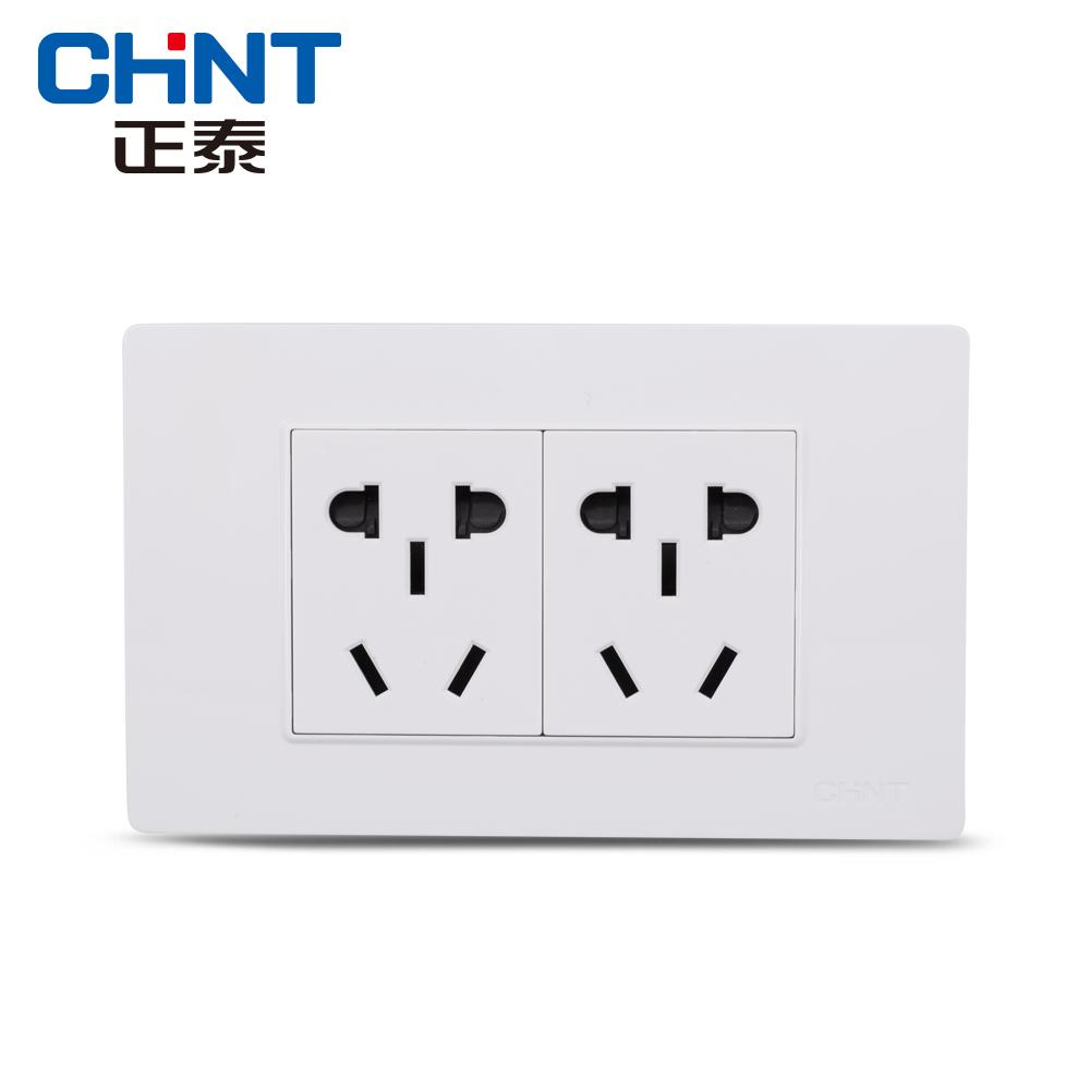 正泰电工 118型插座 NEW5D钢架炫白色 二位插座 二位二插座面板
