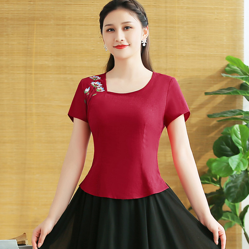 Tang suit improved version of women's fashion tops Chinese style maroon red slim square collar retro mom