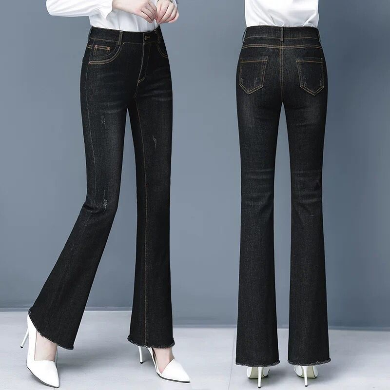 Womens Micro jeans pants spring and autumn 2020 new fashion high waist straight tube loose early autumn black flared pants