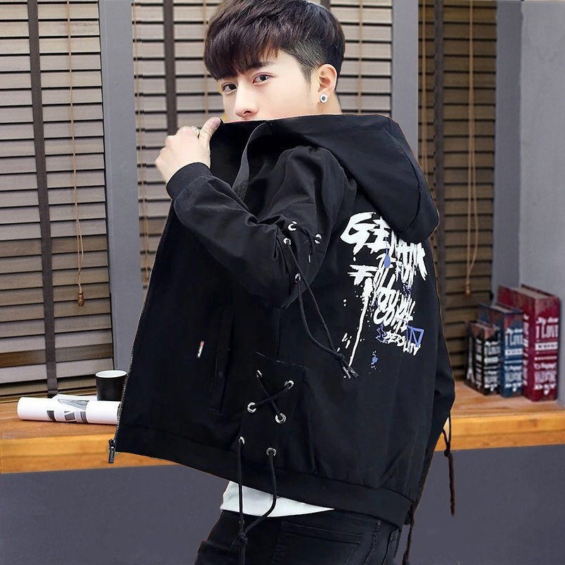 Jacket for young boys 2020 spring and Autumn New Korean slim handsome trend hooded junior high school boys coat