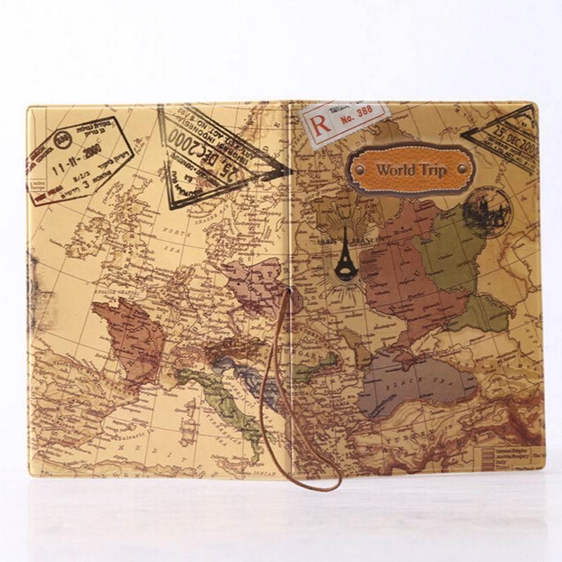 2015 New Lovely Map Travel Passport Holder Cover Identity ID