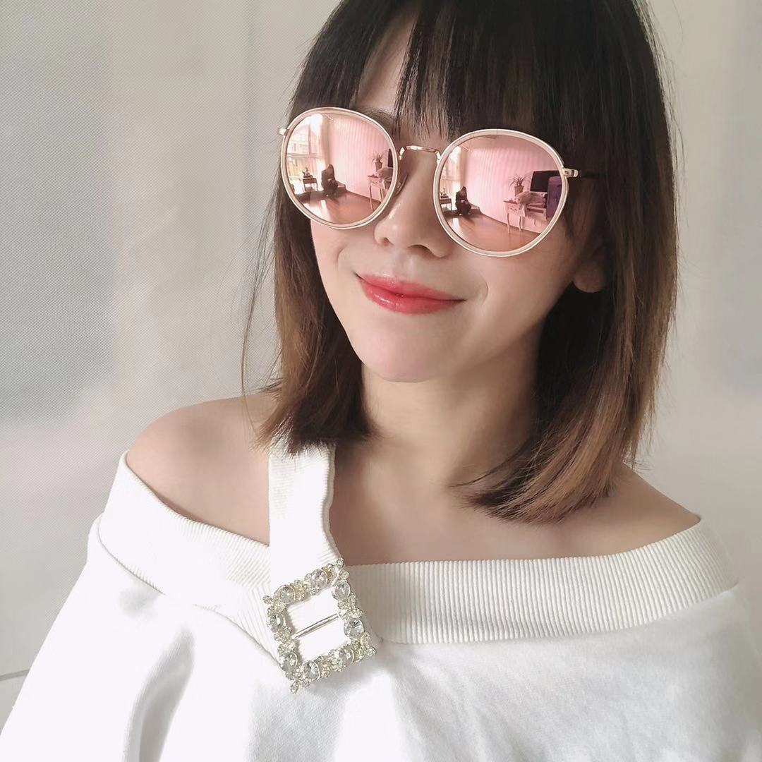Sunglasses female circle exported to Korea soft pink coating anti ultraviolet ultra light fashion retro net red driving