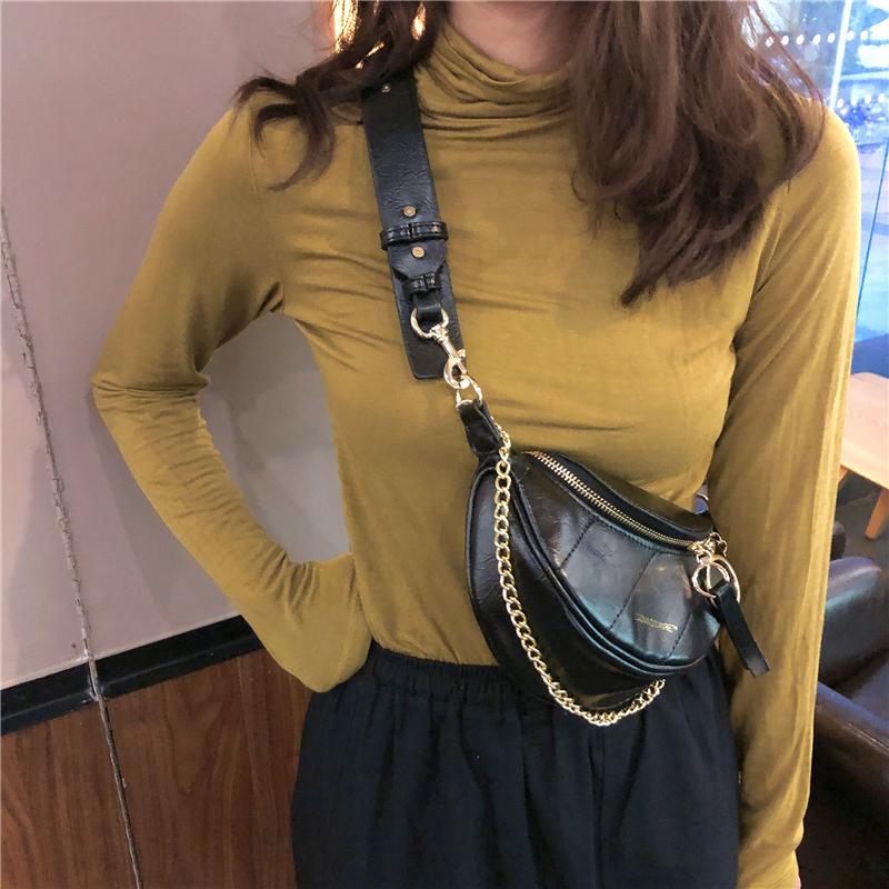2020网红新款褶皱腰包小香风菱格包圆环饰手提单肩包斜挎胸包包女图片